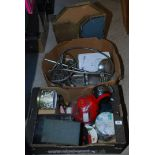 Two boxes of miscellanea including electric shower, coffee maker, metalware etc.