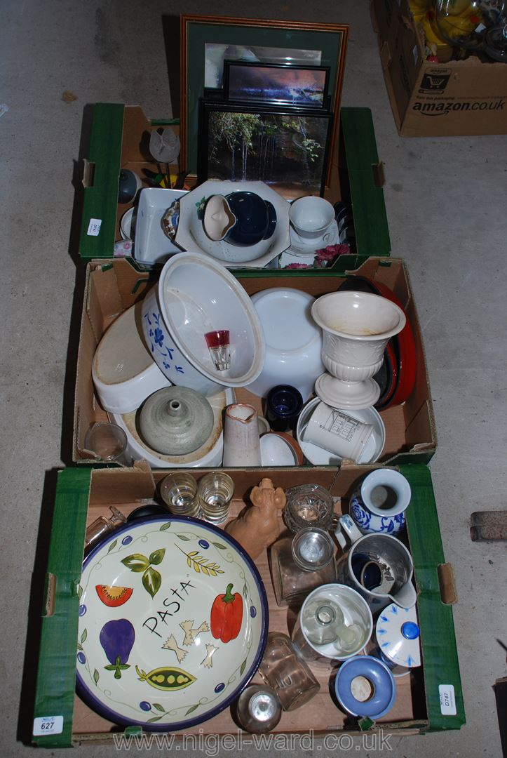 Three boxes of kitchen cookware, plates, dishes, framed pictures etc.