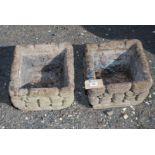 "A pair of square concrete planters. 13"" x 13"" x 10"" high."