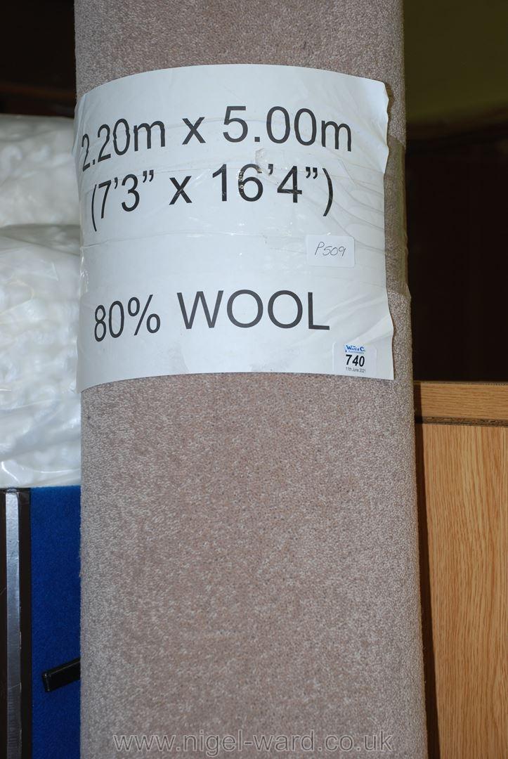 An beige 80% wool carpet, - Image 2 of 2