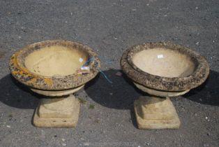 A pair of garden Urns, 22'' diameter x 19'' high.