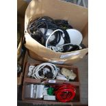 A box of electrical switches, cables etc.