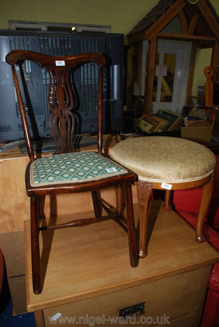 A dressing table stool and splatback bedroom chair.