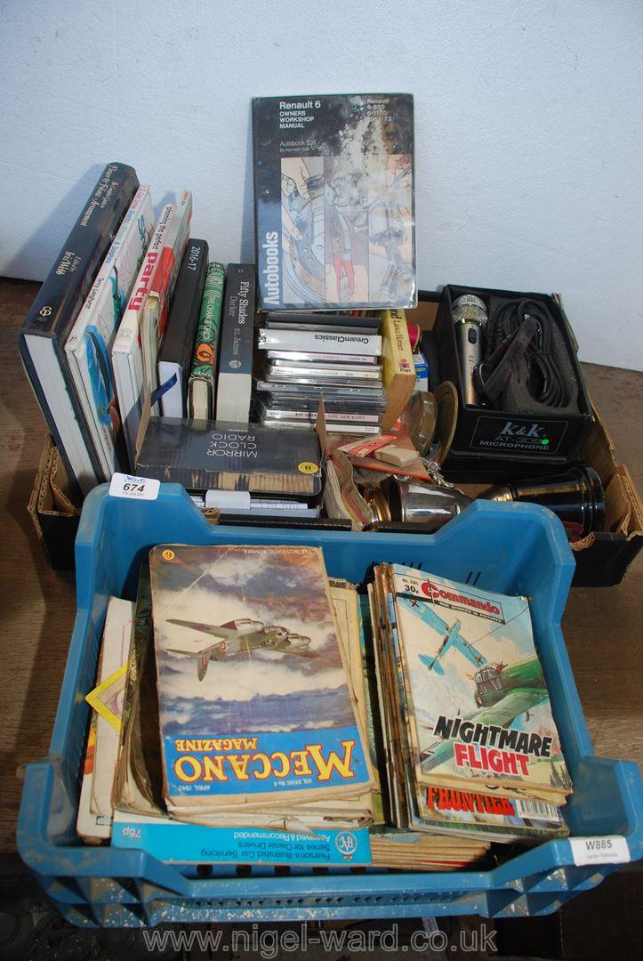 Two boxes of books, microphone, commando books etc.