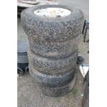 Five 255/70 R17 off road Tyres on alloy wheels with six stud rims, (off Mitisbushi).