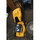 A JCB LS45 petrol Lawnmower with grass box (requiring attention).