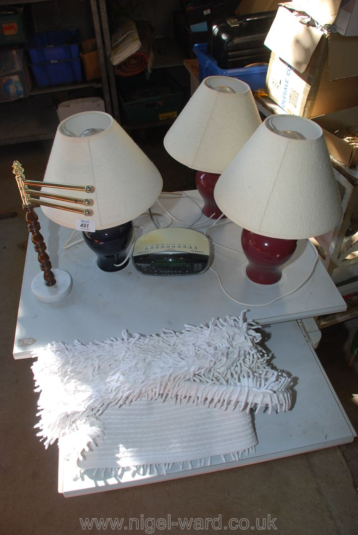 Three table lamps, Roberts radio etc.