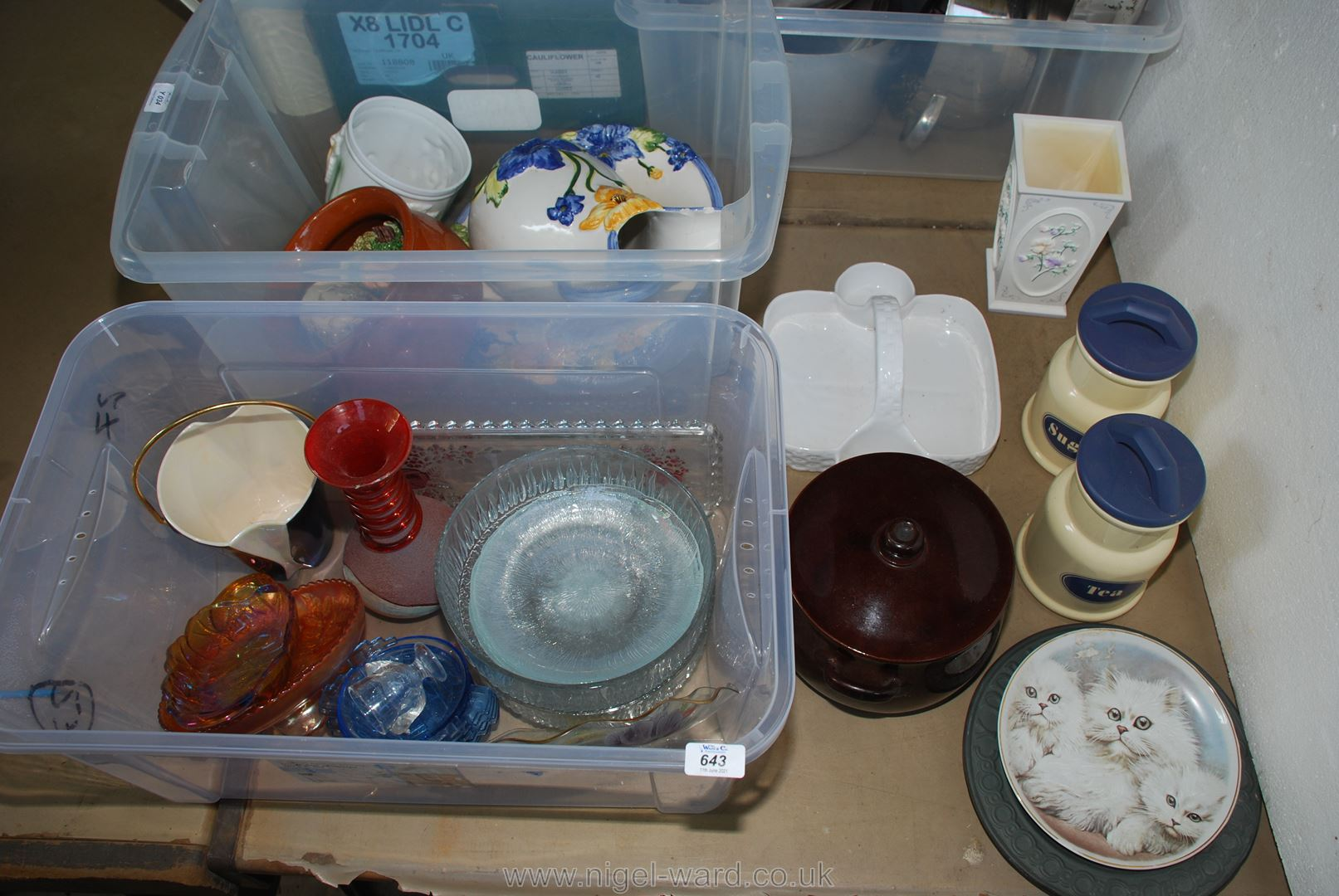 A box of miscellaneous china including kitchen storage jars, casserole dish and lid,