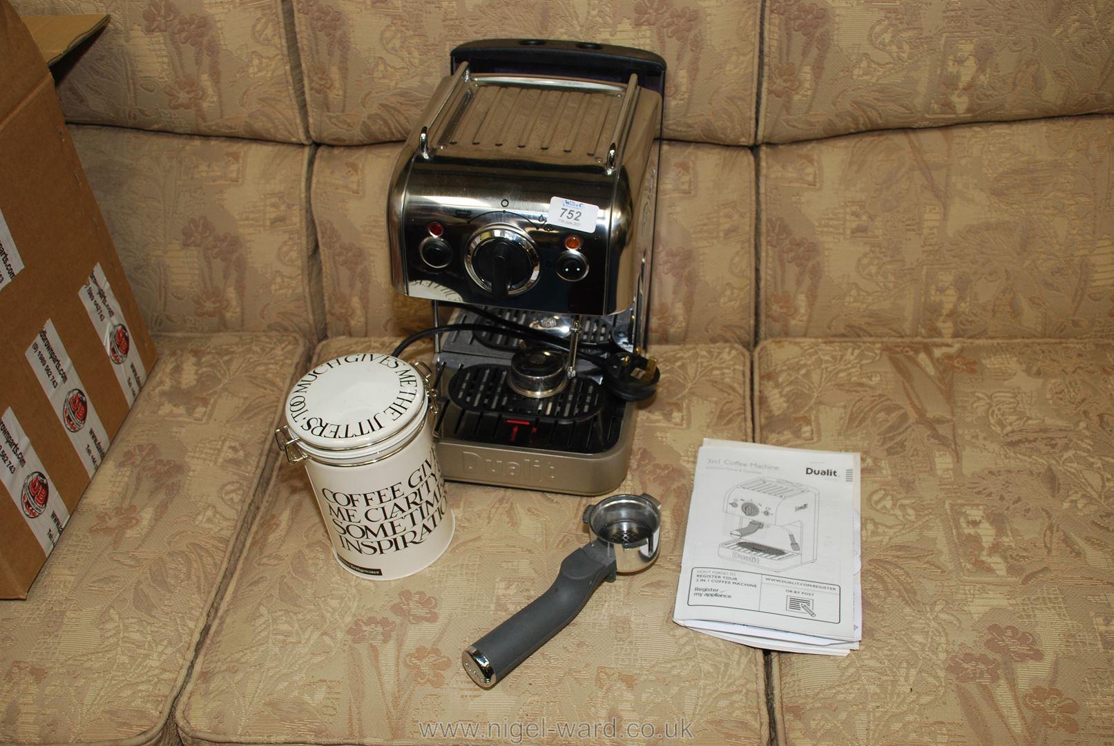 A Dualit coffee machine.