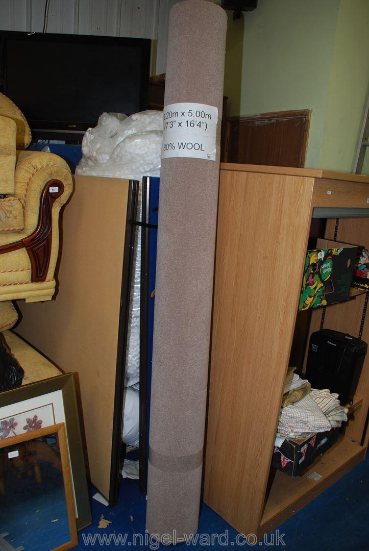 An beige 80% wool carpet,