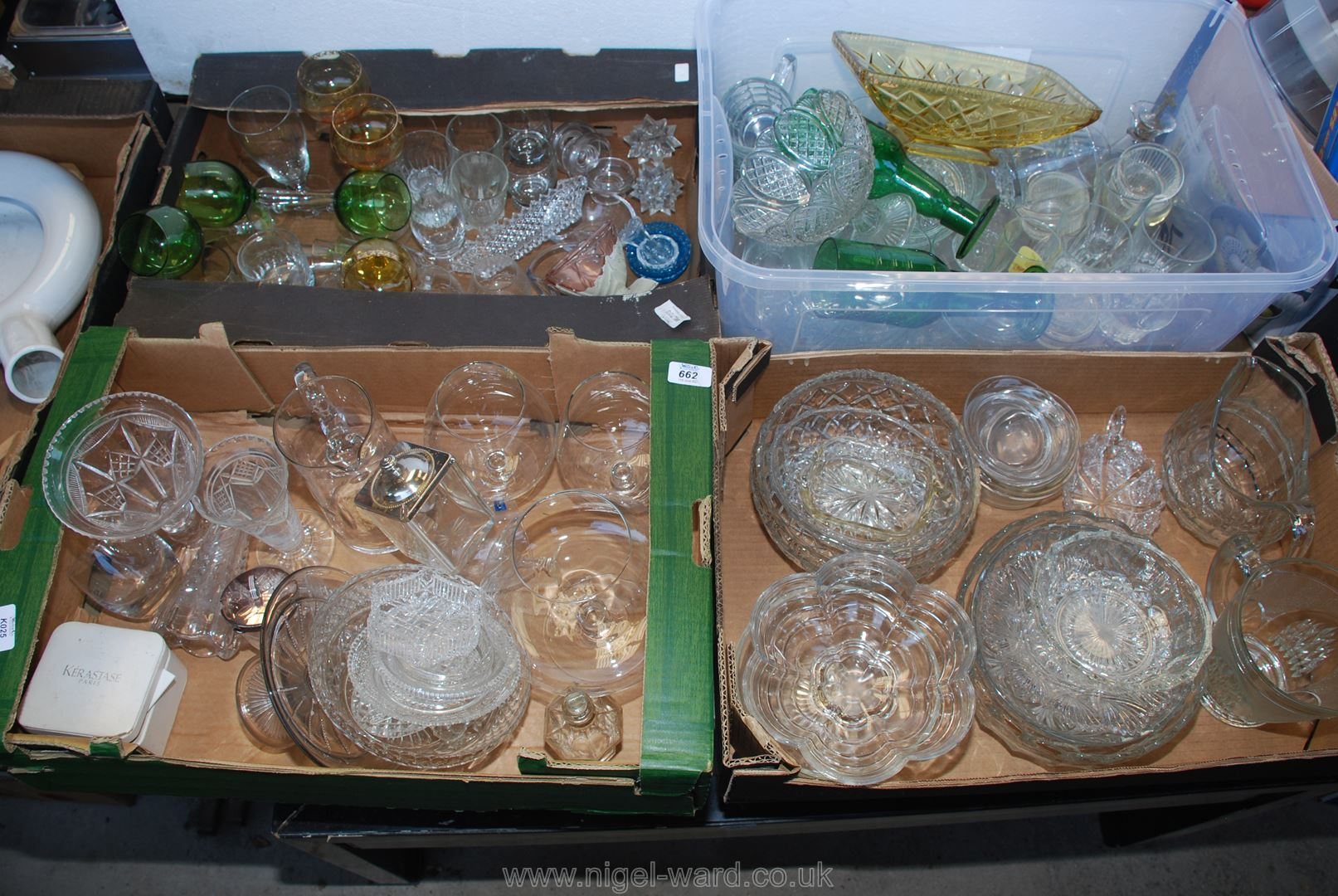 Four boxes of glassware including jugs, sundae dishes etc.
