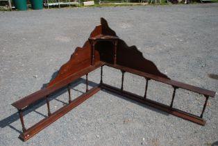 A corner bench back/shelving unit, 53'' x 59'', a/f.