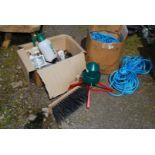 A quantity of nylon rope, Christmas tree stand, bird feeders, sprayer, etc.
