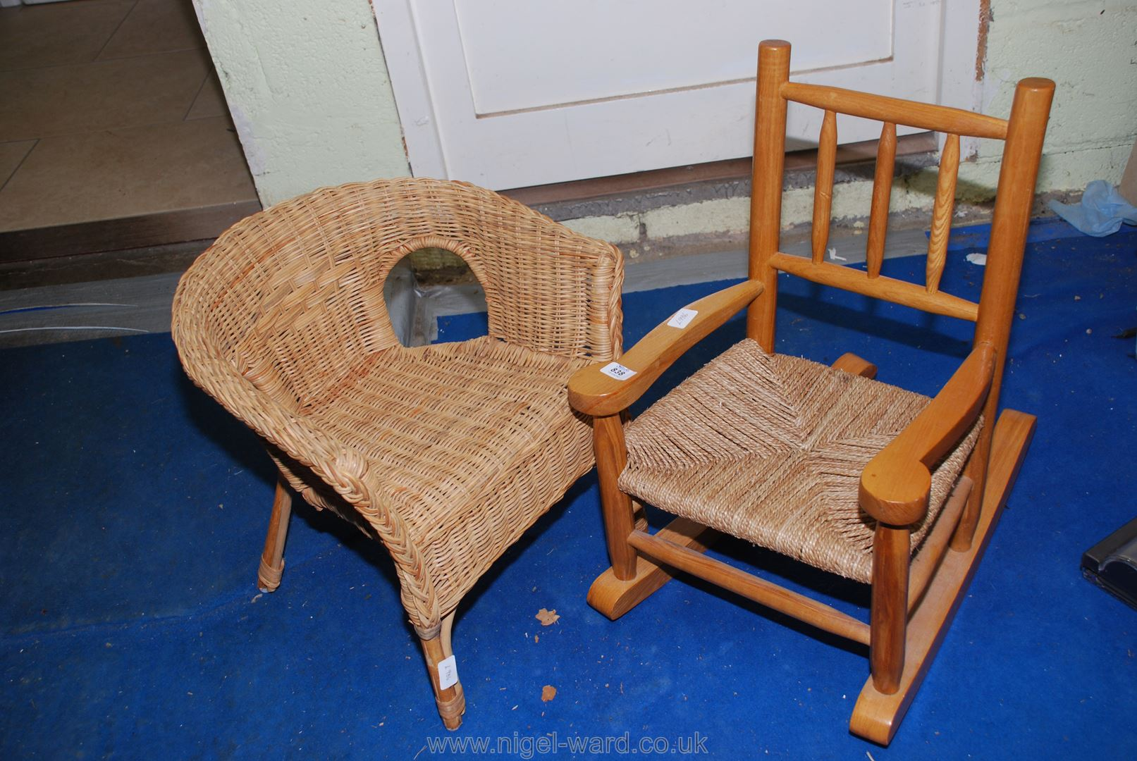 A children's wicker chair and string seated rocking chair.