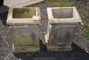 A pair of rectangular chimney pot Cowls, 11'' x 14'' x 23'' high.
