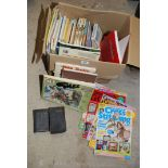 A box of Giles annuals, cross stitch magazines, books etc.
