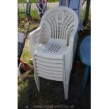 A set of seven stacking Patio chairs.
