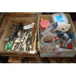 Two boxes of cutlery, nails, hardware fixings etc.