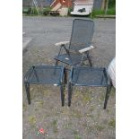 A metal framed folding garden chair and two matching tables/stools.