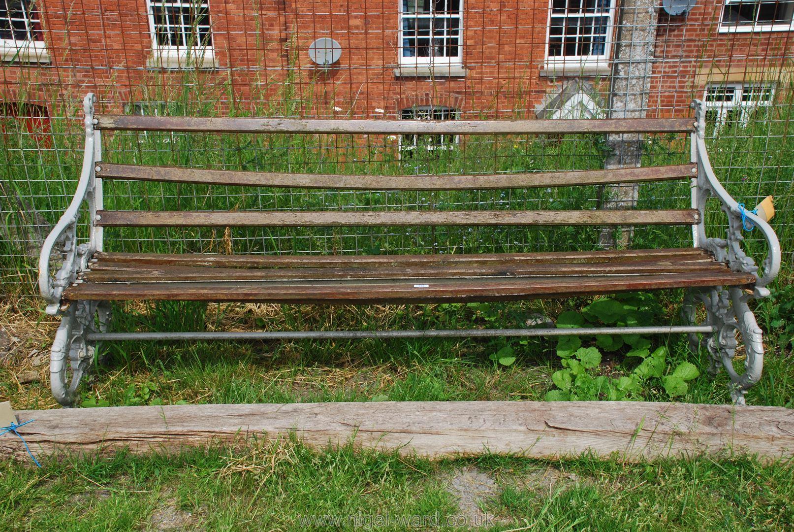 A heavy cast iron ended 6' garden Bench.