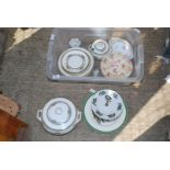 A tray of part dinner set, cake stand etc.