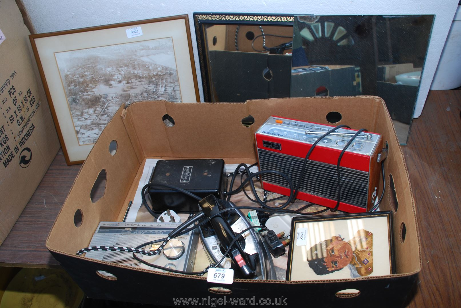 A box of mirrors, Roberts radio, iron etc.