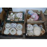 Four boxes of various china, plates, cake stand, jugs etc.