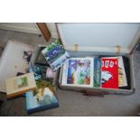 Two cases containing LP's, gardening books, AA guide books etc.
