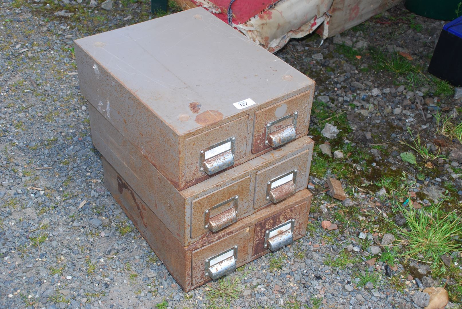 Three two-drawer index Card Boxes.