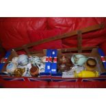 Two boxes of glass vases, carnival glass, teapots and an artists easel.