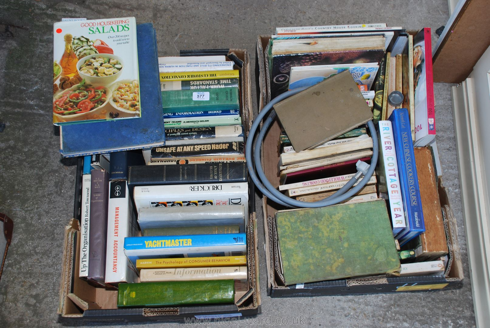 Two boxes of cookery books, novels etc.