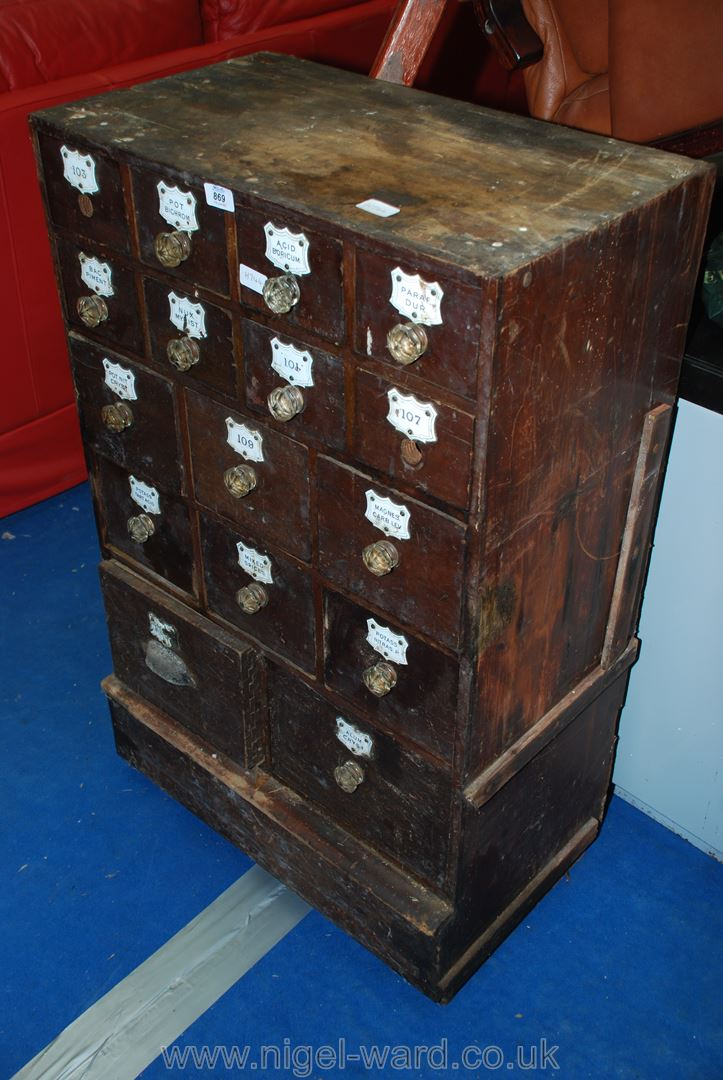 A sixteen drawer chemist chest.