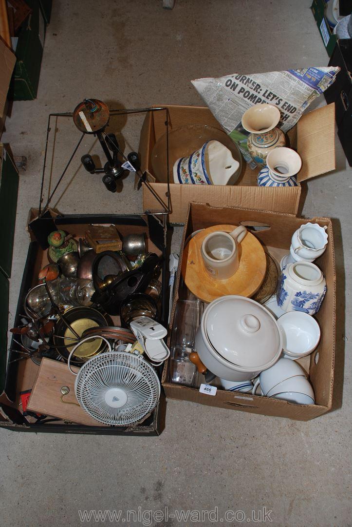 Three boxes of metal ornaments, ceiling light, decorative vases, casserole dish, etc.