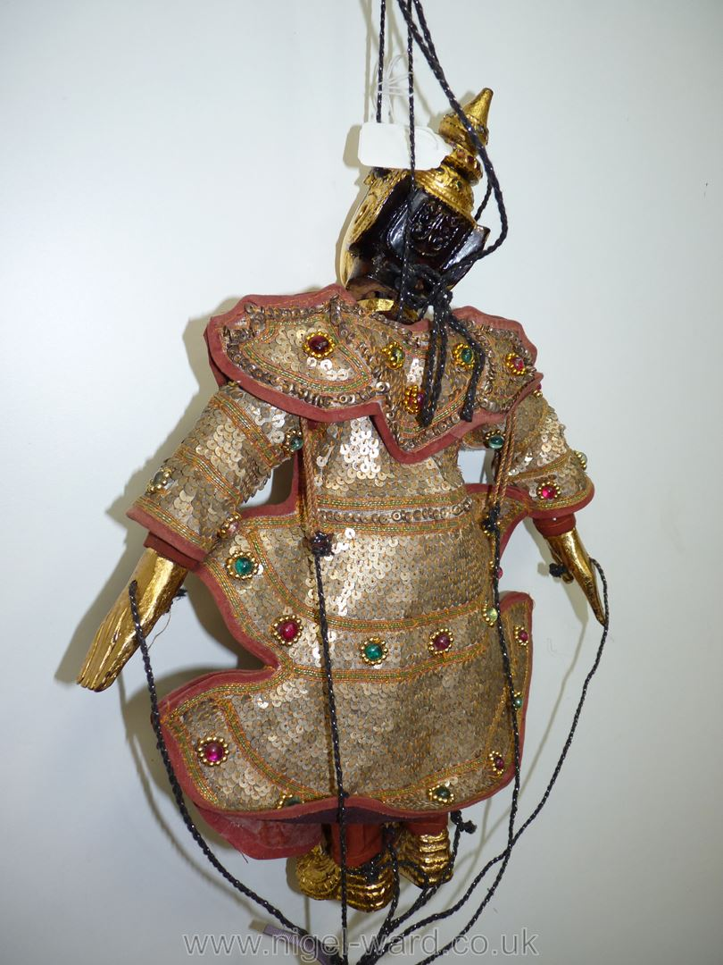 An ornate Thai Marionette richly decorated with sequins, 16 1/2'' tall approx. - Image 5 of 7