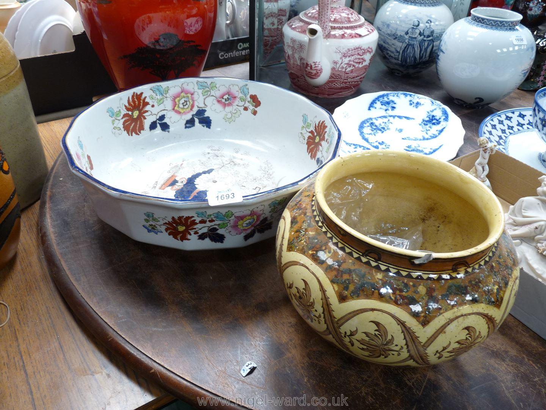 """A large Mason's wash bowl, blue rimmed, 15 1/2"""" diameter, plus a brown/cream plant pot, some damage,"""