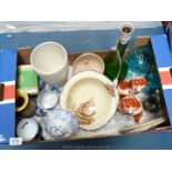 A box of china including blue and white jugs, pair of Staffordshire mantle Spaniels,