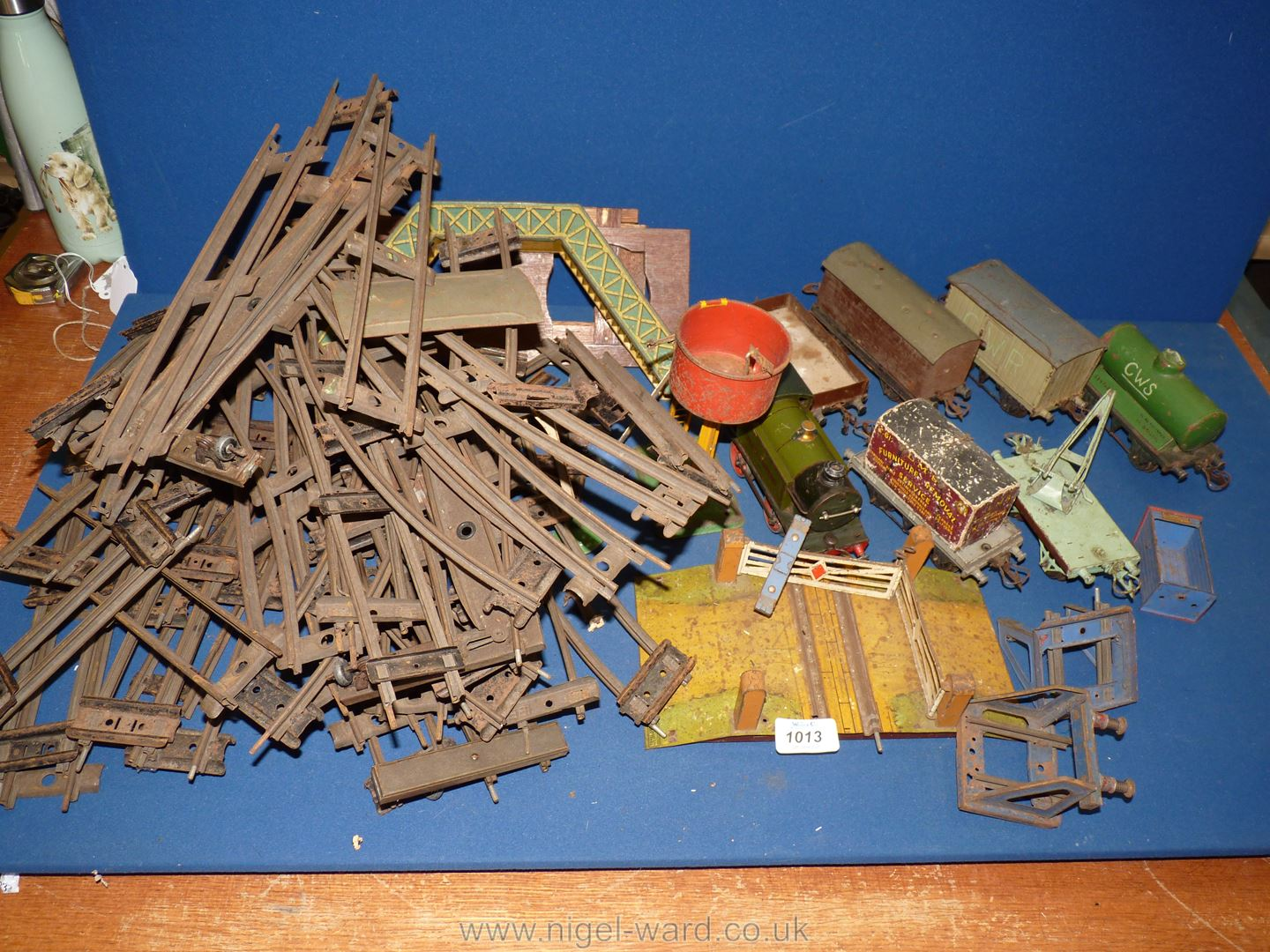 A quantity of model train parts including Meccano 'Great Western' etc.