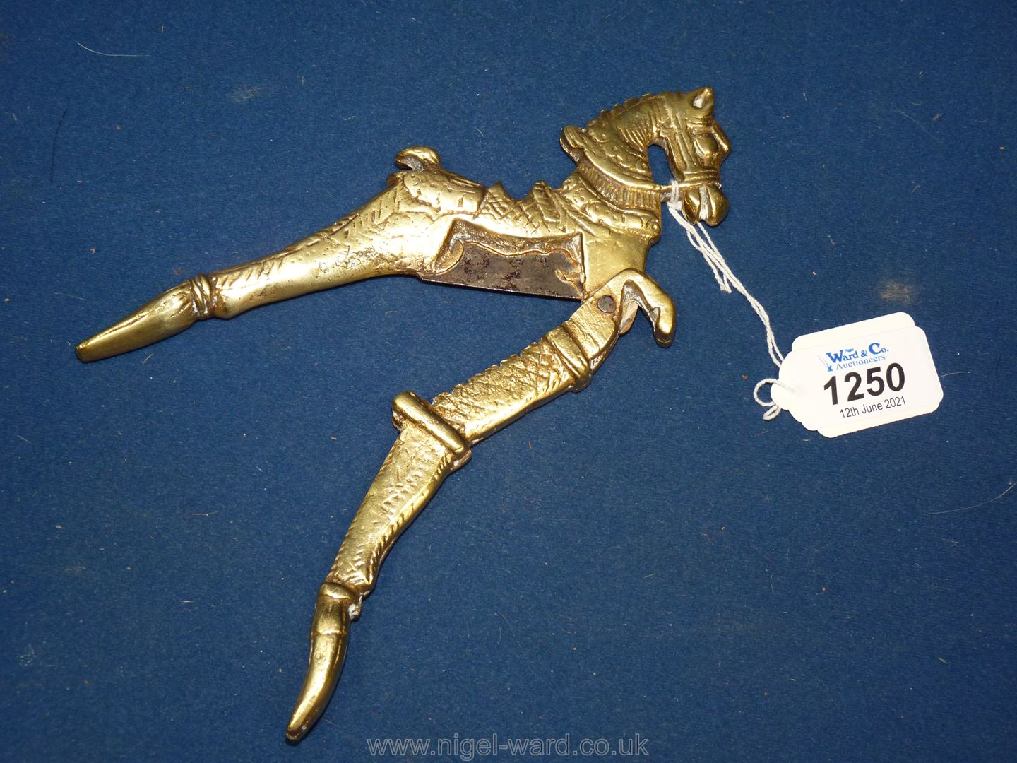 An old Indian Deccani brass and iron betel nut cracker in the form of a prancing horse, - Image 3 of 3