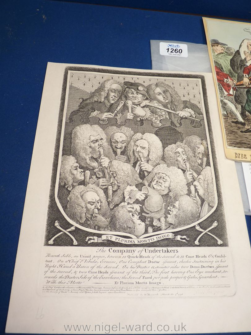 A scarce satirical engraving by William Heath (1830) 'His Honor the Beadle Driving the Vagabonds - Image 3 of 4