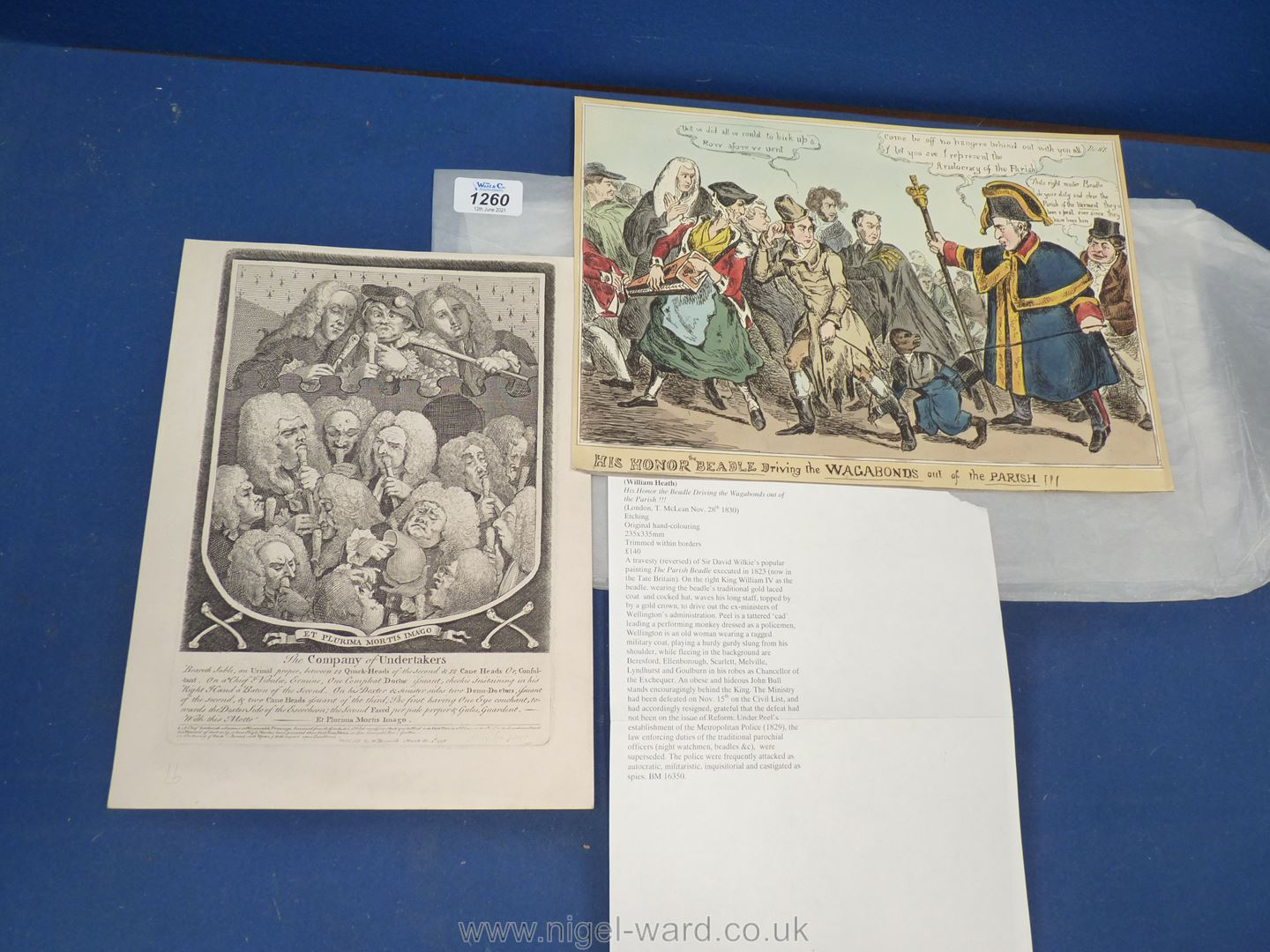 A scarce satirical engraving by William Heath (1830) 'His Honor the Beadle Driving the Vagabonds