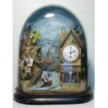 A fine and rare Napoleon III French musical automaton clock, showing a ship rocking on a stormy sea,