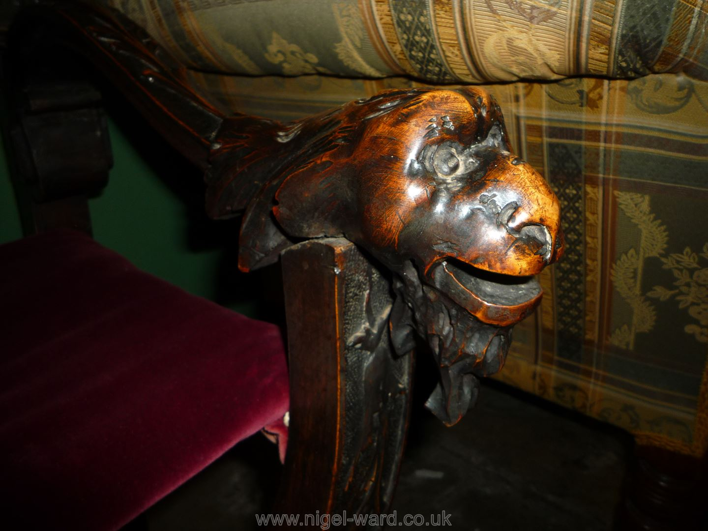 An elegant Mahogany 'X' framed open armed Armchair having carved and blind fretworked decoration, - Image 3 of 5