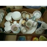 A Wedgwood part Teaset, white ground, comprising four egg cuups, various vases,