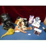 A large box of Star Wars including Darth Vedar Head radio, Yoda Jabba the Hutt,