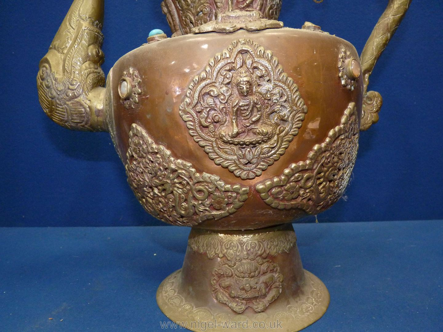 A Tibetan copper and brass ceremonial Dragon ewer with dragon handles and spout, - Image 2 of 9