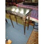 A pretty Continental design Side Table having veined green marble top and standing on turned and