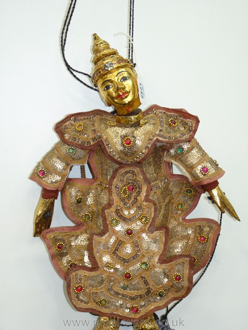 An ornate Thai Marionette richly decorated with sequins, 16 1/2'' tall approx. - Image 2 of 7