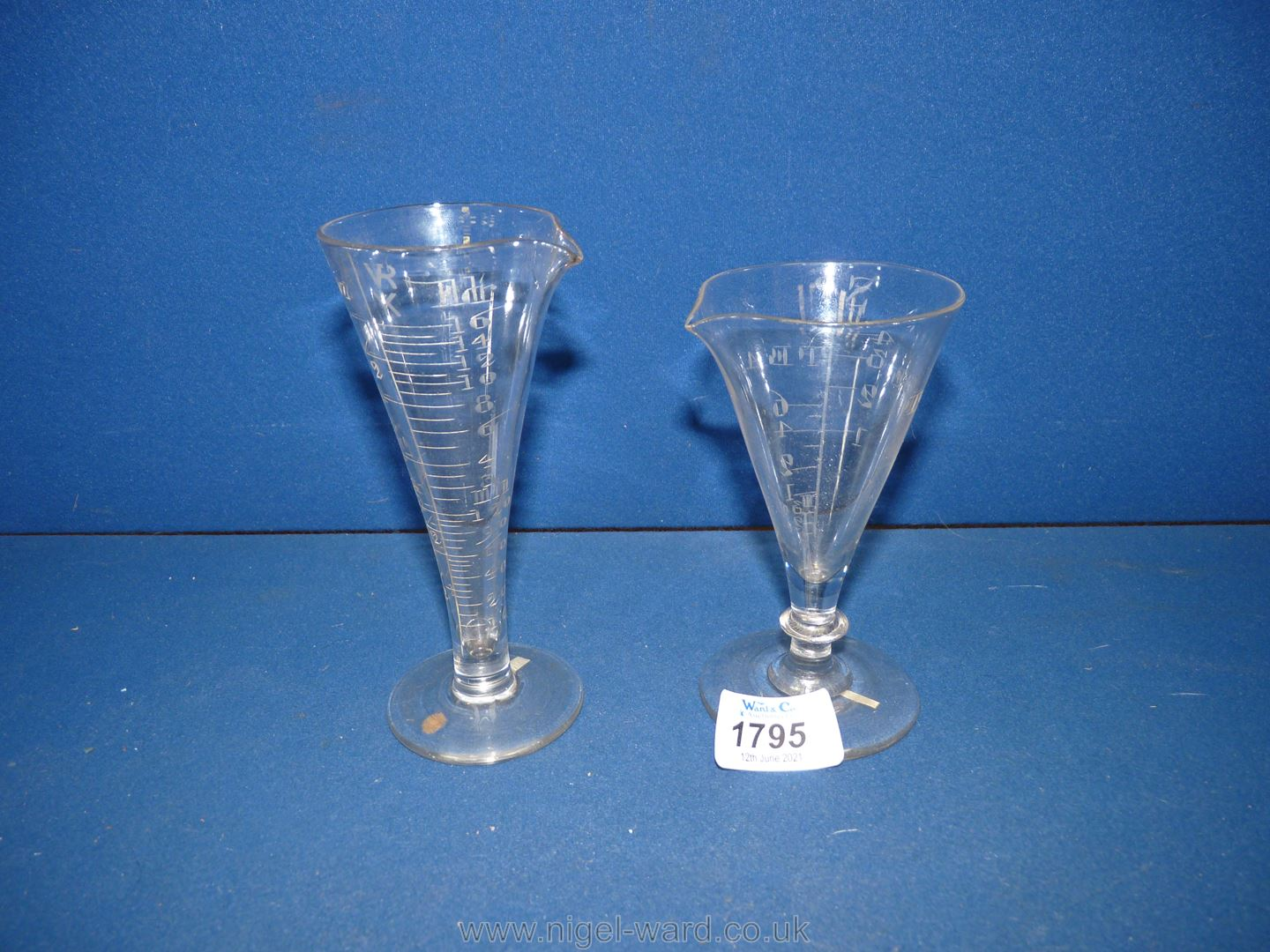 Two scarce Georgian funnel shaped chemist's measuring glasses, one circa 1750 with elliptical knop, - Image 2 of 2