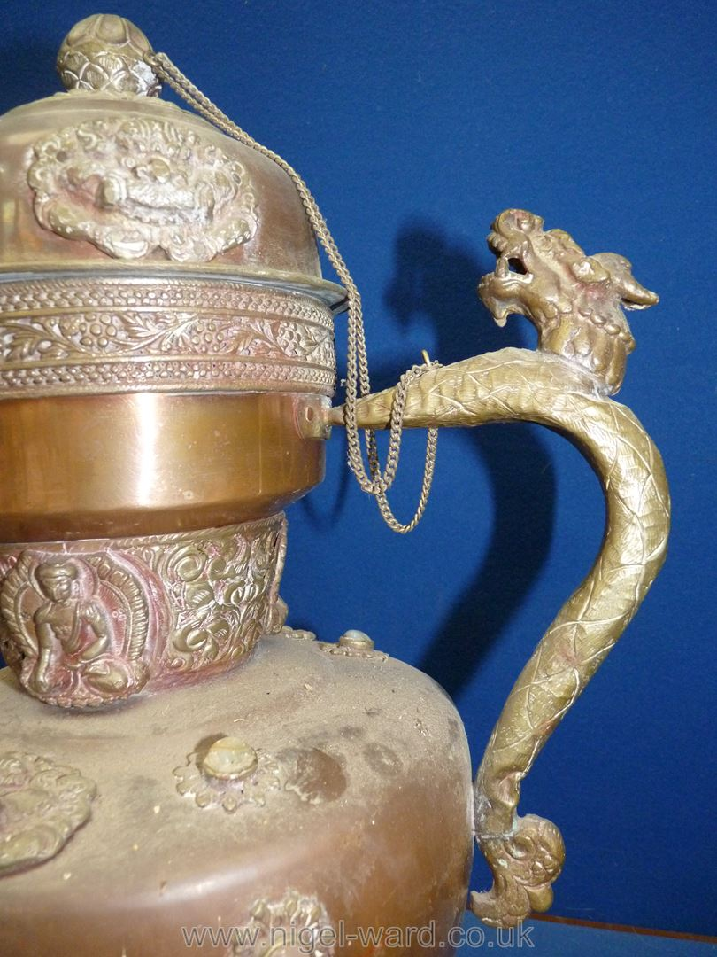 A Tibetan copper and brass ceremonial Dragon ewer with dragon handles and spout, - Image 5 of 9