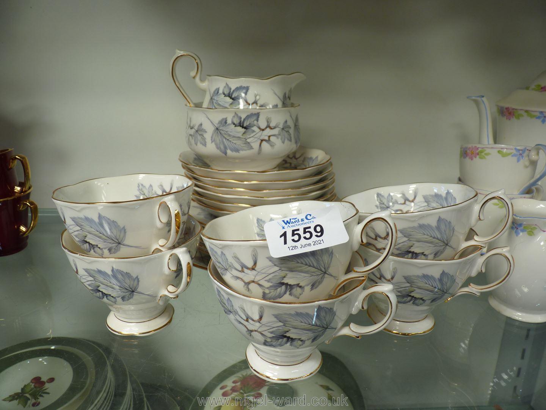 A part Royal Albert Silver Maple teaset for six, no teapot.